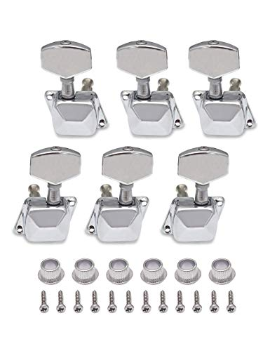 Metallor Semiclosed String Tuning Pegs Machine Heads Tuners 3L 3R Electric Acoustic Guitar parts Replacement Set of 6Pcs Chrome. (3L+3R)