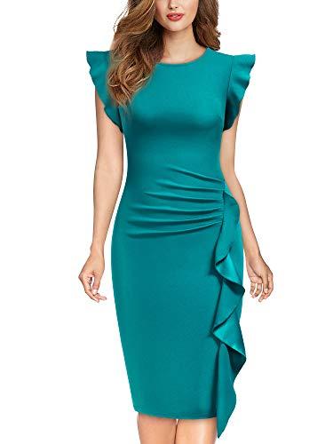 Miusol Casual Slim Fit Coctel Vestido de Lápiz para Mujer Azul Acido Medium