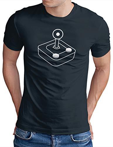 OM3® Retro Gamer Joystick T-Shirt | Herren | 8-Bit Video Game Computer Gaming | Navy, XL