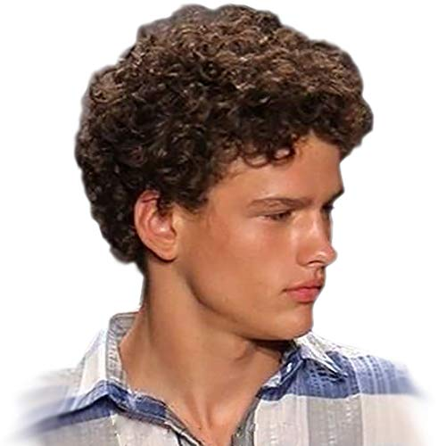STfantasy Pelucas Hombre Short Brown Weaving Wigs Male Guy Kinky Curl Syntehtic Hair for Halloween Cosplay Anime Party