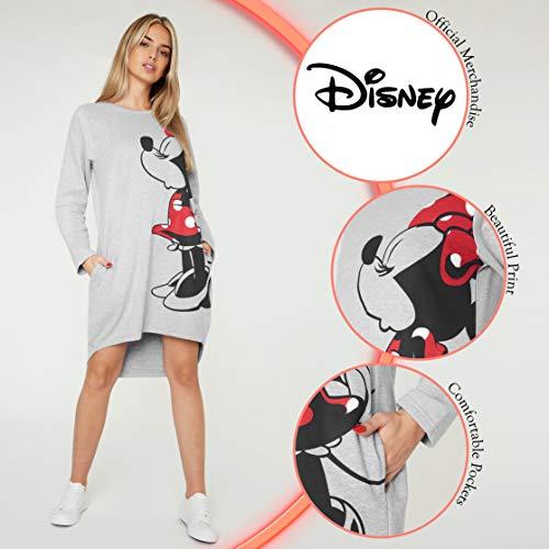 Disney Vestidos Mujer Casual con Minnie y Mickey Mouse, Jersey Largo Mujer, Vestido Mujer de Manga Larga, Regalos para Mujer y Adolescente Talla S-XL (Gris Minnie, L)