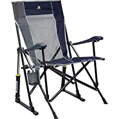 Portable, folding outdoor rocking chair delivers smooth rocking motion on lawns, patios, campsites, and other outdoor surfaces 2-piece seat/backrest construction for maximum comfort and support; mesh paneling promotes airflow for ventilated seating t...