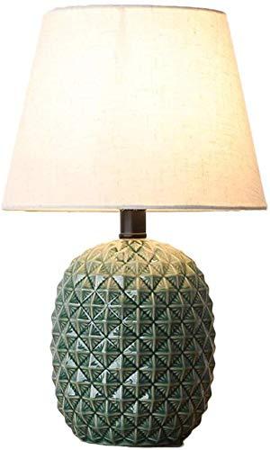 Creatieve keramische tafellamp kinderkamer slaapkamer bedlampje E27 woonkamer studeervorm ananas tafellamp stoffen kap 41 cm geel