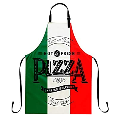 EZYES Pizza Apron, Cat & Pizza Kitchen Aprons with Pocket & Adjustable Neck for Chef Cooking Gardening Home Adult Size