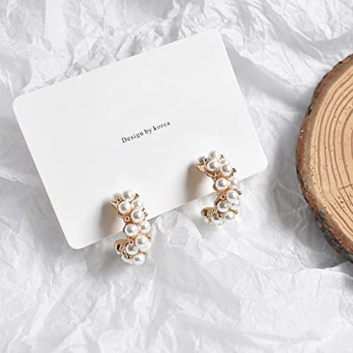 SPACELQ Nuevo Vintage Japón Pendientes de aro Coreano para Mujeres Hecho a Mano Sweet Pearl Círculo Joyería Pendientes Regalos