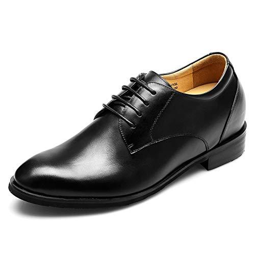 CHAMARIPA Herren Oxford Stil Elevator Schuhe aus Kalbsleder Business Schnürhalbschuhe - 7,5 cm höher - DX70H106S (37)