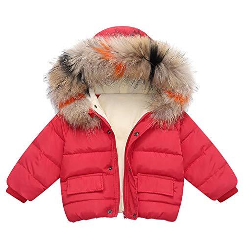 VESNIBA Chaqueta con capucha acolchada para niños (sombrero no se puede quitar). rojo 100 cm
