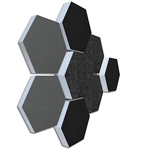 Schallabsorber 3D-Set aus Basotect G+ ®  8 Elemente Ø30cm Wabe  Qualitäts Akustik Elemente/Oberseite GRAU/SCHWARZ