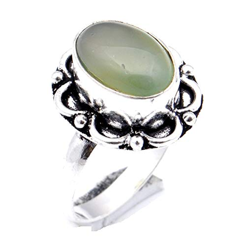 Green Botswana Agate! Girls Ring, Sterling Silver Plated Handmade Art Jewelry! Full Variety Store for Wedding Anniversary Birthday Party Gift, Ring Size 8.25 US