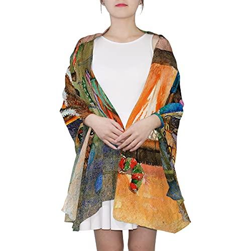 WJJSXKA Bufandas para mujer Estampado ligero Estampado floral Bufanda Chal Bufandas de moda Chales de protección solar, Chimenea navideña
