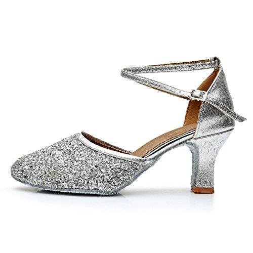 VASHCAMER – Damen Tanzschuhe Hoher Absatz Standard/Latein/Ballsaal 7CM Silber - 3