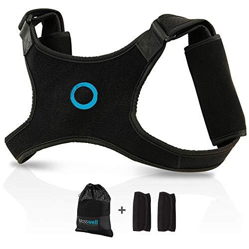 Mosswell® Haltungstrainer mit elastischen Nähten - Größe S/M - Rücken Geradehalter zur Haltungskorrektur - Körperhaltung verbessern für Herren und Damen - inkl. Pads, Tasche