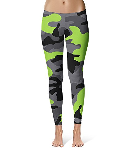 Queen of Cases Dark Camouflage Lime Green - L - Sport Leggings