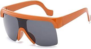 QWKLNRA - Gafas De Sol para Hombre Lente Negra De Marco Naranja Gafas De Sol Deportivas Polarizadas Siamesas Reflectantes Al Aire Libre Conducción Mujeres Hombres Gafas De Sol Deportivas Viajando Gaf