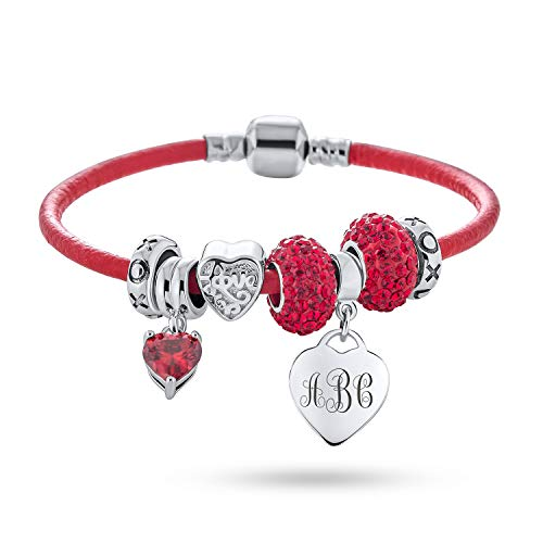 Initial Personalize Heart Lover Couples Valentine BFF Starter Beads Multi Charm Bracelet Genuine Red Leather For Women Teens .925 Sterling Silver European Barrel Snap Clasp Custom Engraved