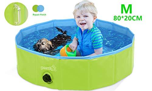 Pecute Hundepool Schwimmbad Für Hunde und Katzen Swimmingpool Hund Planschbecken Hundebadewanne Faltbarer Pool mit Griff ungiftiges PVC rutschfest M(80 * 20CM)