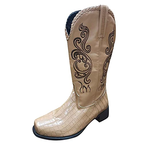 Cowboy Boots for Women Vintage Embroidery Ethnic Style Western Booties,Square Toe Chunky Heels Slip On Mid Calf Boots