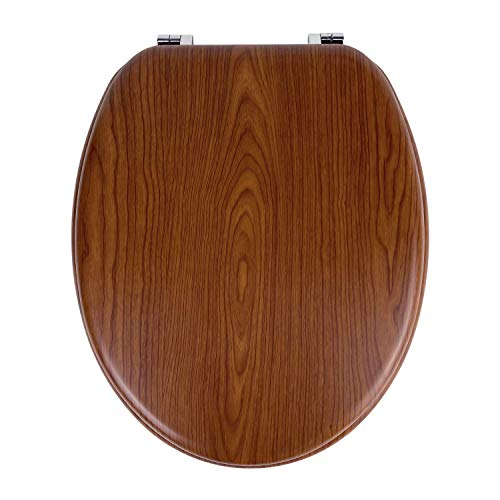 Sedile WC Universale in MDF Legno di Alta Qualità, Tavoletta Copriwater con Cerniere in Metallo, in Tanti Motivi Colorati per il Bagno, Trendy Line (LEGNO 2)