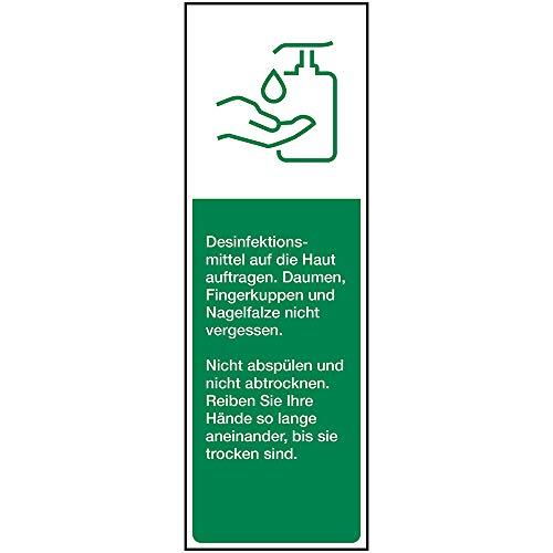 Anleitung zur Händedesinfektion, Selbstklebende Folie, 50 x 150 mm, Aufkleber, Infektionsprävention