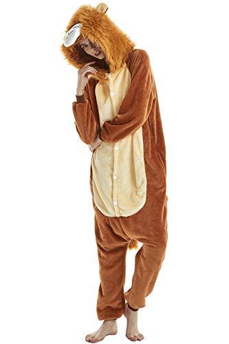 YAOMEI Adulto Unisexo Onesies Kigurumi Pijamas, Mujer Hombres Traje Disfraz Animal Pyjamas, Ropa de Dormir Halloween Cosplay Navidad Animales de Vestuario (M, A-León)