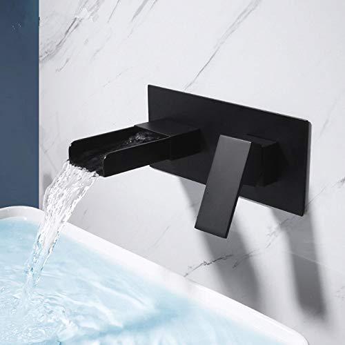 SJIUH Grifo de baño Grifo de Lavabo Grifo de baño Negro Grifo de Cascada Cromado en la Pared Grifo Mezclador de Lavabo Juego de grifos Combinación Blanoir, Dorado