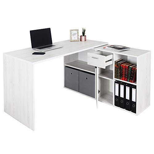 RICOO Eck-Schreibtisch Arbeitstisch Winkel-Kombination Bürotisch (WM081-WK) Computer-Tisch (Flexibel 90-180°) Holz Hell Kiefer mit Regal Akten-Schrank Low-Board
