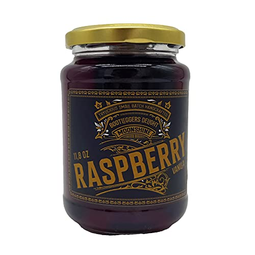 TRYLICIOUS Bootleggers Delight Moonshine Himbeer-Vanille | 350 ml feinster Himbeer-Vanille Likör im Einmachglas | 18 vol. alc. | Handcrafted Moonshine in Anlehnung an die Prohibition |