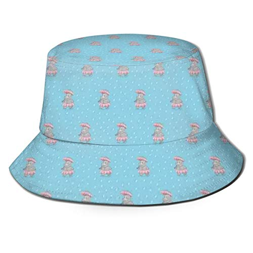 Unisex Summer Fisherman Cap,Nursery Pattern with Cute Hippo Girl Walking with Umbrella On A Rainy Day,Travel Beach Outdoor Sun Hat