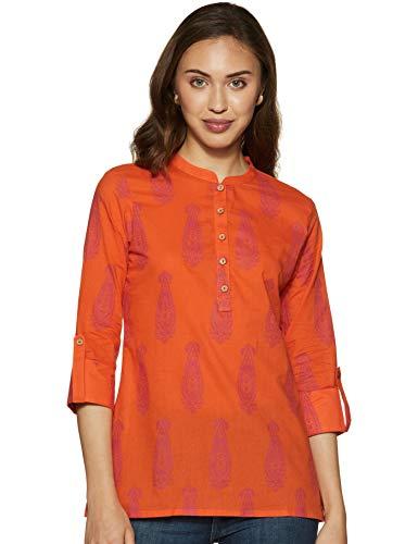 Amazon Brand - Myx Women's Cotton Screen Print Regular Fit Short Kurti (SS19MYXTP019C1_Orange_S)