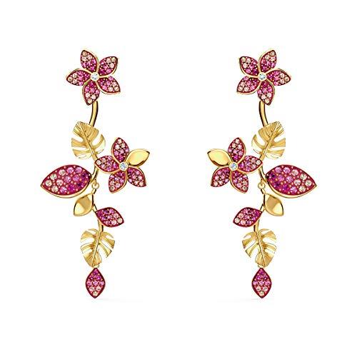 Swarovski Pendientes Tropical Flower, Rosa, Baño tono oro
