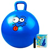 Hopper Ball Jumping Ball Bouncy Ball with Handle for Kids Age 3-6 Sit and Bounce 18 inches Hopping Ball with Pump