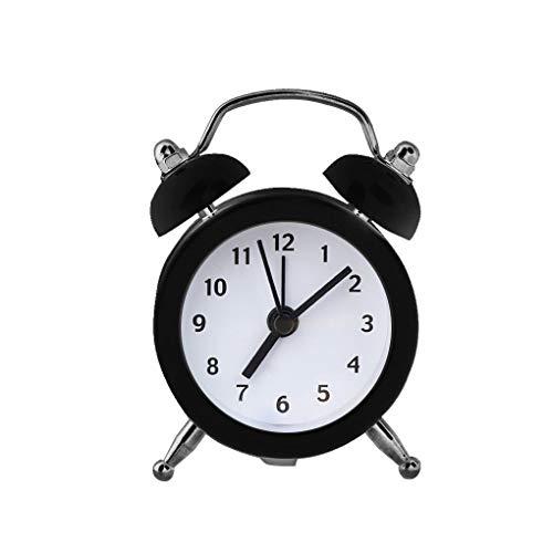 Mmamma Elektronischer Digital-Wecker Mini runde Weinlese Laute Glocke Wecker Desktop-Tisch Nacht Tinkerbell Wecker for Schlafzimmer Reisewecker Nacht Wecker Sleep Timer (Color : Black)