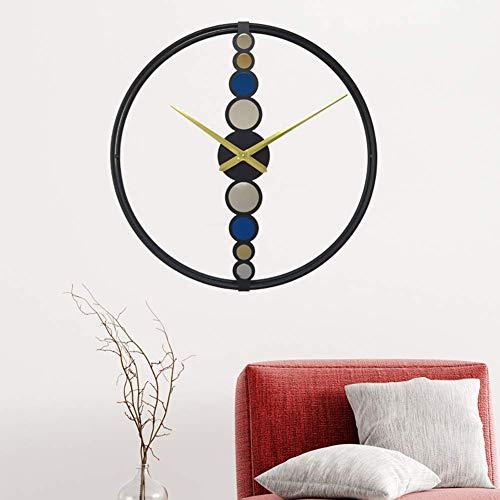 Metalen decoratieve wandklok, Nordic Fashion Light Style Modern Home Decor Ideaal voor woonkamer, Klassiek Wild, Metalen klok, Stille beweging 48 * 48CM