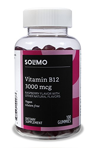 Amazon Brand - Solimo Vitamin B12 3000 mcg - Normal Energy Production and Metabolism, Immune System Support* - 100 Gummies (2 Gummies per serving)