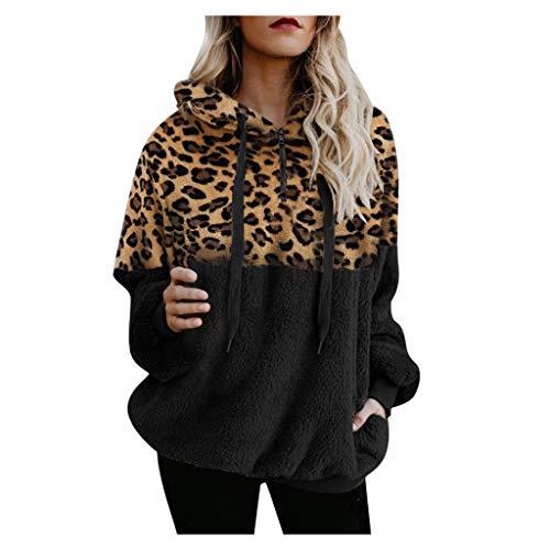 Lazzboy Sweatshirt Leopard Frauen Patchwork Langes Hülsen Pullover Hemd übersteigt Bluse Damen Hoodie Mädchen Kapuze Winterpullover Langarm Kapuzenpullover(Schwarz,L)