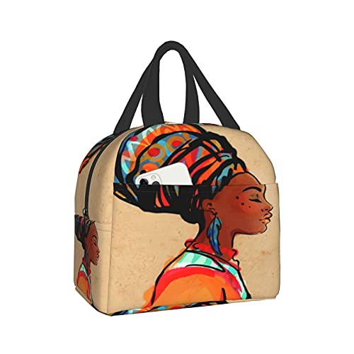 Reusable Tote Lunch Bag,Portrait Of Beautiful African Woman With Earring waterproof Insulated Cooler Lunch box Lunch Bags Luch Container for Office School Picnic Beach Workout