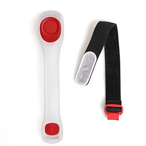 LED セーフティバンド 3色 腕や足に 夜行走行 運動の安全に (赤, 調整可)