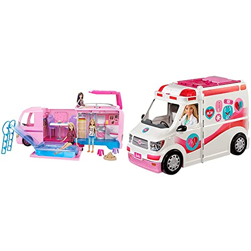 Barbie FBR34 ESTATE Dream Camper Pink Pop Out Caravan for Dolls, Accessories Included, Playset Vehicle & Care Clinic Playset