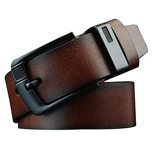 Zhantie Cinturón de cuero de los hombres Pin de aleación retro D en forma de hebilla de mezclilla regalo para hombres
