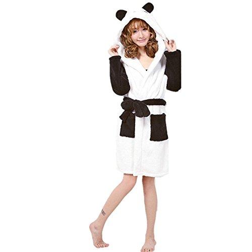 Woneart Damen Bademantel/Morgenmantel mit Kapuze Robe Nachtwäsche Tier Kostüme Pyjama Cosplay (Large for 164cm-172cm, Panda)