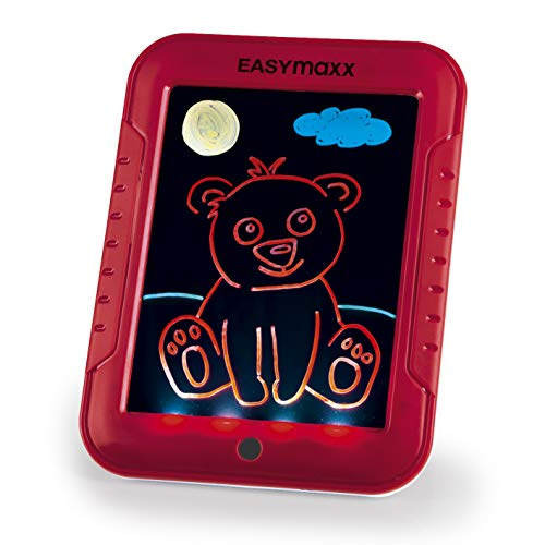 EASYmaxx Malpad Magic Glow | Maltafel mit 8 tollen Leuchteffekten, Inkl. 30 Motive mit Lerneffekt und 3 doppelseitige Stifte mit Neonfarben | mit LED [rot]