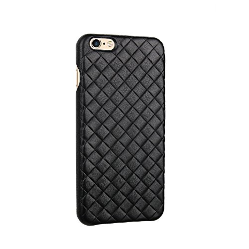 Axpasia NPVP Cover iPhone 6 Plus (5.5'), Large Intreccio Slim [Sottile] Made in Italy, per iPhone 6, 6 Plus, 7, 7 Plus, 8, 8 Plus, X, Vera Pelle, [AntiGraffio] Design e manifattura Italiana, Nero
