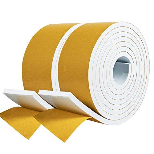 fowong Joint Adhésif en Bande 2 rouleaux 50 largeur x 6 mm Épaisseur x 2m longueur Joint en Caoutchouc Porte Fenêtre d'Isolation Phonique Antichoc Protection Mur Climatiseur - Mousse...