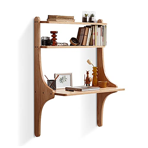XIAOQIAO Escritorio de madera con estante de almacenamiento moderno para colgar en la pared, escritorio de estudio nórdico para apartamentos pequeños, 80 x 45 x 115 cm