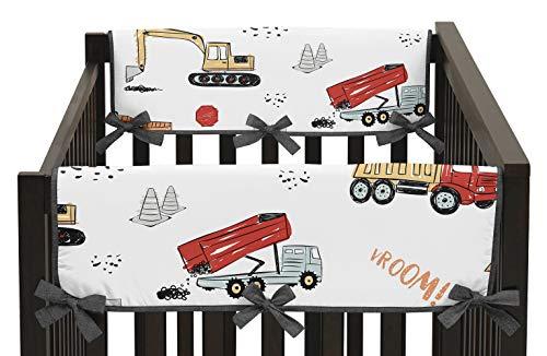 Sweet Jojo Designs Construction Truck Boy Side Crib Rail Guards Baby Teething Cover Protector Wrap - Set of 2 - Grey Yellow Orange Red and Blue Transportation Chevron Arrow