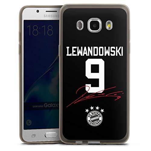 DeinDesign Slim Hülle extra dünn kompatibel mit Samsung Galaxy J5 (2016) Silikon Handyhülle anthrazit Hülle FC Bayern München FCB Lewandowski