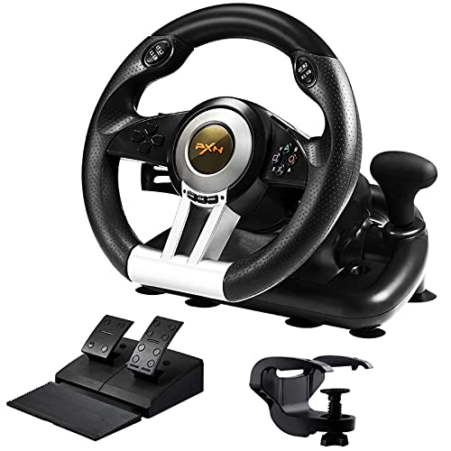 PXN V3II Simulate Racing Game Steering Wheel with Pedal, 180 Degree Steering Wheel, Compatible with Windows PC, PS3, PS4, Xbox One, for Nintendo Switch - Black