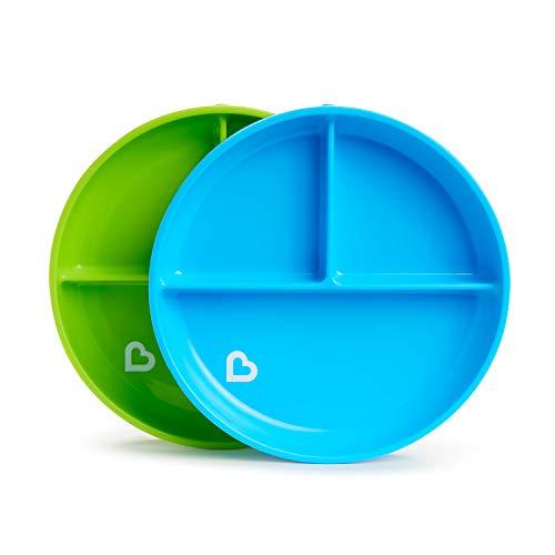 Munchkin lot de 2 Assiettes à Compartiments avec Ventouse, Bleu/Vert