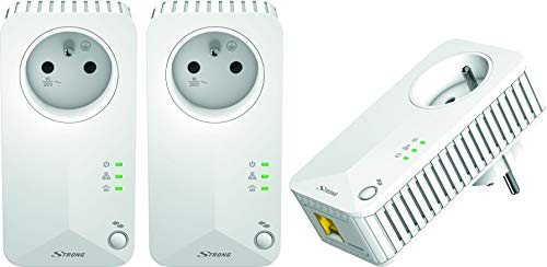 Strong CPL 500 Mbps, Kit de 3 Adaptateurs CPL avec prise Gigogne intégrée - Boitier CPL compatible avec toutes Les Box Internet fibre et ADSL - Blanc