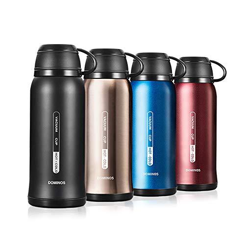 Y·J&H Vakuum Isolierte Edelstahl Trinkflasche, Wasserflasche Doppelwandig BPA Frei, Mit Tasse, Geeignet für heiße Kaffee und Tee, Ideale Thermosflasche für Outdoor, Camping - 650ml Schwarz